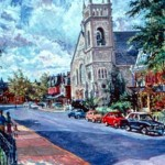 First Methodist Episcopal Church,  Oil on canvas 24 x 20,  Private Collection
