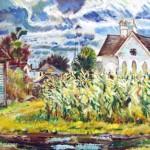 """A. John Kammer,  <i>Iowa Corn Field,</i><br> Oil on canvas  25"""" x  33"""""""