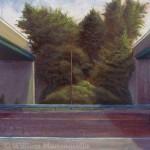 "William Mammarella, <i> Infrastructure IV</i><br>  Oil on panel 18"" x 18"""
