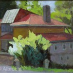 "Carol Albrecht  Yellow Springs Bldg. 2 <br> Oil on canvas  6"" x  8"" Donated: SAMA Silent Auction 2015"