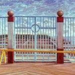 """William Mammarella Garden Pier Oil on Panel   18"""" x 36"""""""