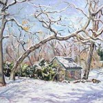 Harleigh Cemetery in Winter, Oil on Canvas 24 x 24, Private Collection