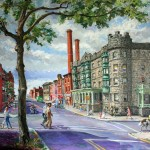 3rd & Cooper Sts., Helene Apts, Camden,  Oil on canvas 42 x 44, Private Collection