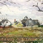 Jersey Farm VII,  Casein on Board,  Private Collection