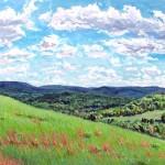 Hills over McConnaughey Farm I,  Casein 14 x 20