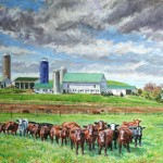 Marker Farm with Cattle,  Oil on canvas 24 x 33