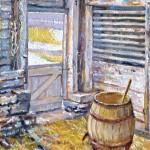 McConnaughey Barn Interior I, Oil on Panel, 12 x 10