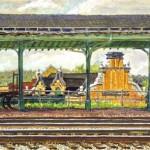 Old Latrobe Station, Watercolor & casein