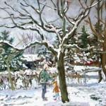 Bonnie & Sean in the Back Yard, Oil on canvas