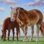 Two Horses (Spring),  Oil on panel 16 x 18, Private Collection