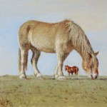 Two Horses (Winter),  Oil on panel 16 x 20, Private Collection