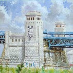 Benjamin Franklin Bridge (Camden),  Watercolor 15 x 19,  Private Collection