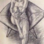 Bonnie in Womb Chair, Charcoal on paper, 38 x 24