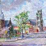Broadway Methodist Chuch & St. Augustines Episcopal Church,  Oil on Canvas 24 x 33