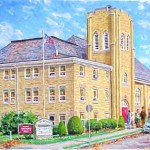 Calvary Methodist Church, Oil on Panel 19 x 24, Private Collection