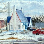 Winter on the  Collingswood Circle,  Oil on panel 12 x 18,  Collection of the  Collingswood Public Library