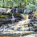 Factory Falls IV, Child's State Park, Poconos,  Casein 14 x 19 Private Collection