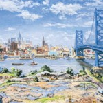 View of Philadelphia with Benjamin Franklin Bridge Oil on canvas 32 x 50 Private Collection