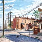 Haddon & Pine Streets,  Casein on board 14 x 19,  Collection: Rutgers University