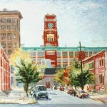 RCA Tower from Point St.,  Oil on panel 14 x 16,  Private Collection