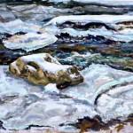 Ice on the Ligonier Creek,  Oil on panel 8.5 x 10