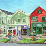 Three Buildings, Main St Ligonier,  Oil on panel 16 x 20