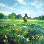 """Louis Sloan  Self Portrait in Landscape Oil on canvas  50"""" x  40"""""""