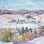 Marker Farm (Winter) I,  Oil on panel 12 x 18