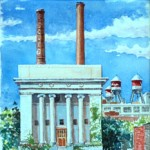 New Masonic Temple,  Watercolor 15 x 15,  Private Collection