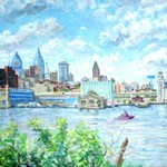 View of Philadelphia from Camden,  Oil on Canvas 24 X 42,  Private Collection