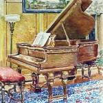 Piano Room, Watercolor, Private Collection