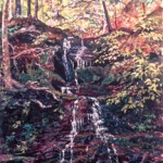 Small Waterfall, Catskills,  Casein 19 x 14