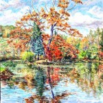 Conference Pond in Fall, Oil on canvas, 30 x 28, Private Collection