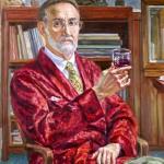 Self Portrait Retired Professor,  Oil on canvas 12 x 12