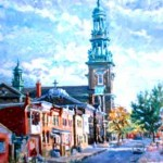 St. Joseph's from 10 Street,  Oil on Canvas,  Formerly in the Collection of West Jersey Hospital (Now Missing)