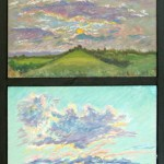 Four Sunsets,  Oil on four panels 44 x 15, Private Collection Private Collection