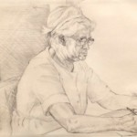 Mom at Her Desk, 1962     Graphite on paper, 11.5 x 17
