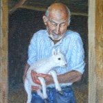Ray Kinsey with Lamb, 2013     Oil on Canvas, 10 x 8 Private Collection