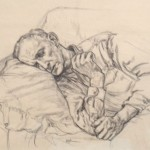 Rest for a Working Man, 1963     Graphite on paper, 10 x 13