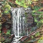 Falls, The Catskils, 1979  Casein on board, 15 x 20